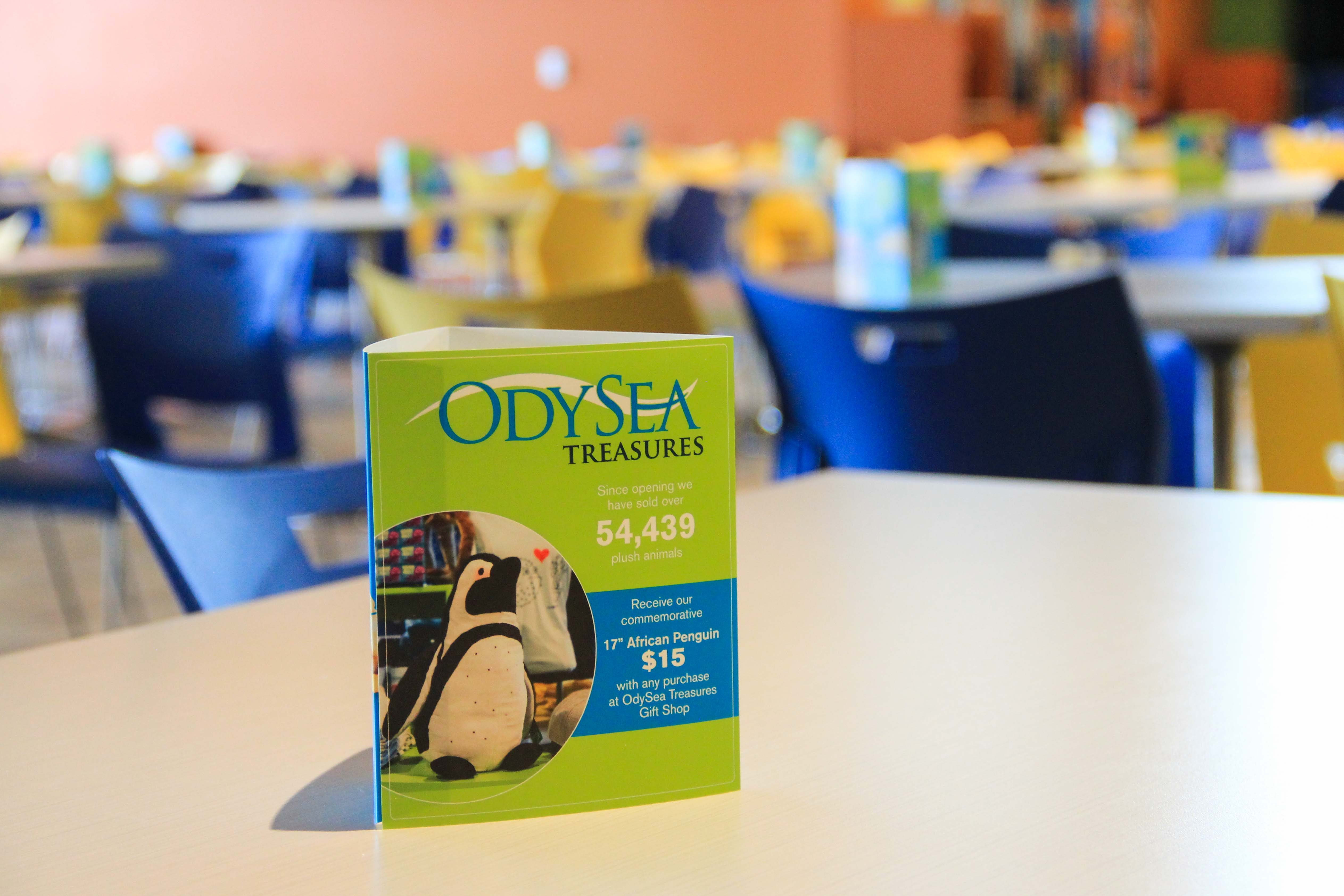 OdySea Aquarium Standing Triangle Table Tents Small Format Marketing Collateral