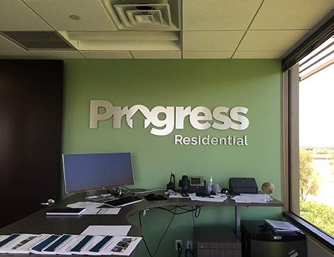 Dibond dimensional lettering metal signage for Progress Residential by Artisan Colour