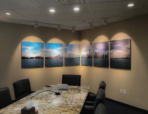 Fine Art Prints of Skyline Decorate a Corporate Office Board Room, Printed by ArtisanHD a division of Artisan Colour