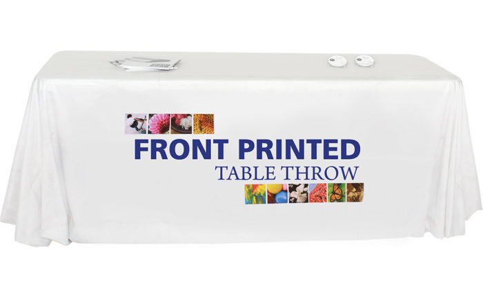 front or fully printed tablethrow tradeshow event artisancolour