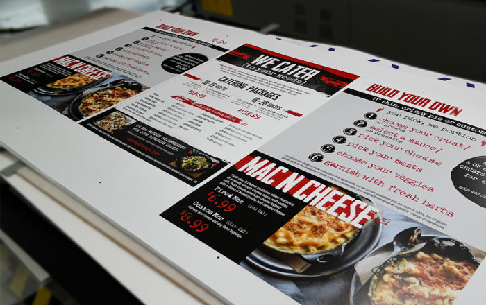 point of purchase menu board fired pie artisancolour