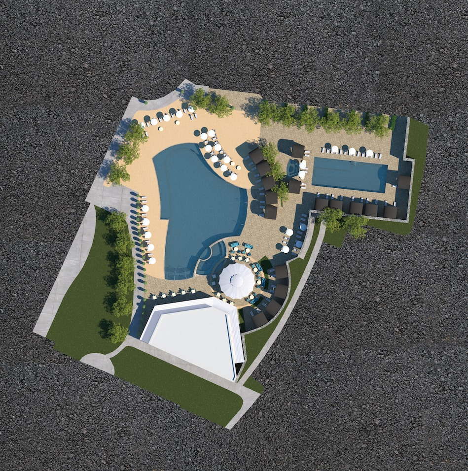 Architectural Rendering Printing overhead shot of new hotel