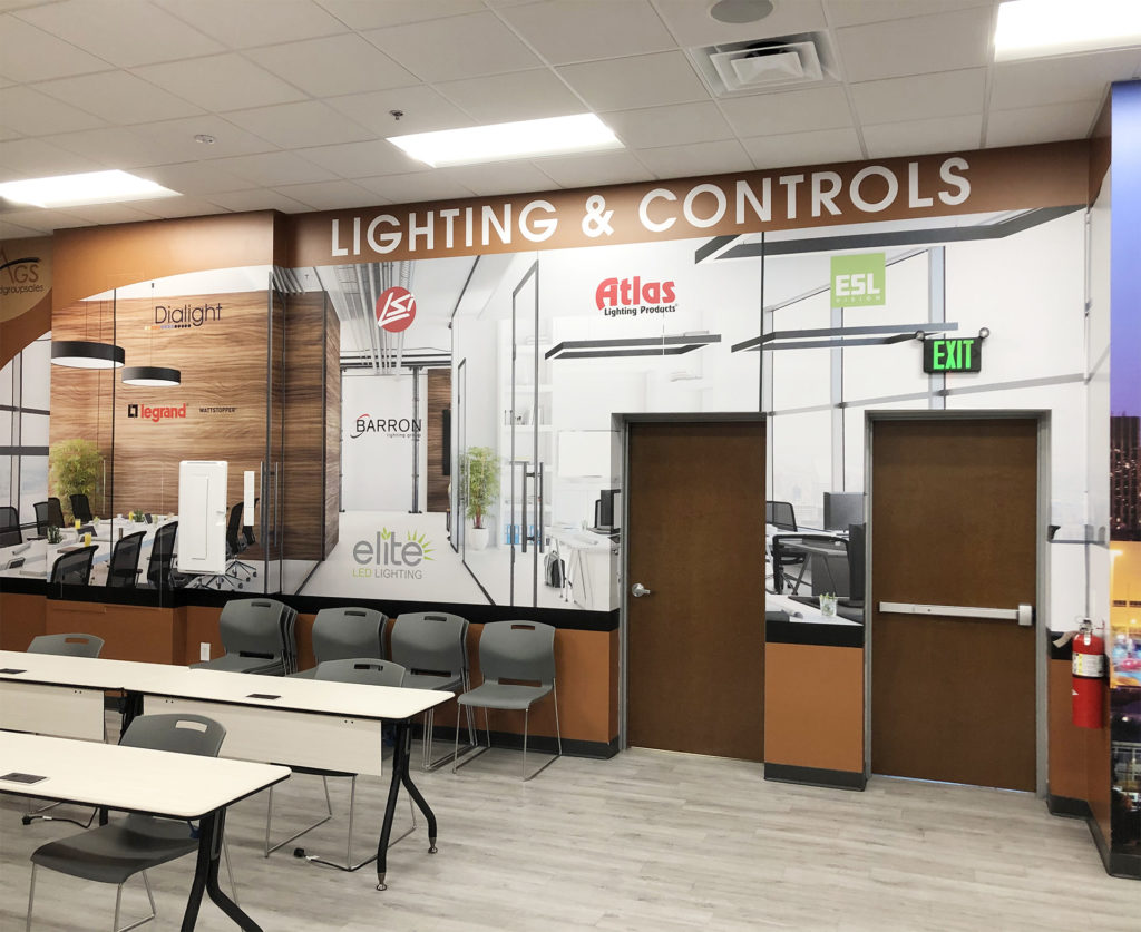 Lighting and Controls Corporate Wall Graphics Training Room wall at Allied